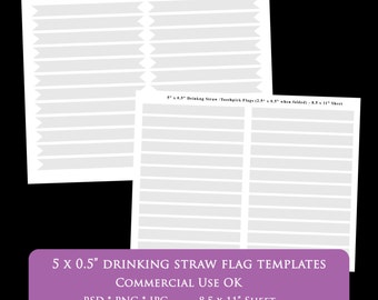 "straw flag template 5 x 0.5"" 8.5 x 11"" drinking straw flag party printable psd png Commercial Use Personal pennant rectangle digital DIY"