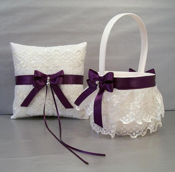 plum purple wedding bridal flower girl basket and ring bearer. Black Bedroom Furniture Sets. Home Design Ideas