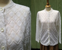 1970s in a 1960s Style White Scalloped Lace Cardigan Sweater by Helen Sue, Made in Japan, 100% Acrylic