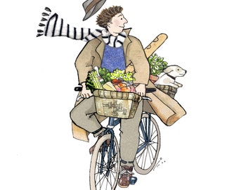 CYCLING ON A SUNDAY printed card of a man and his happy dog enjoying a care free cycle ride ,his basket  is full of food from the market