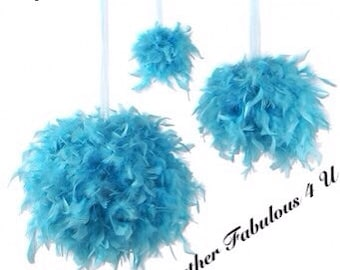 """6"""" Feather Kissing Ball,Feather Ball,Feather Pomander,Party Decorations,Wedding Decorations, Sweet 16  Decorations, Hanging decorations"""