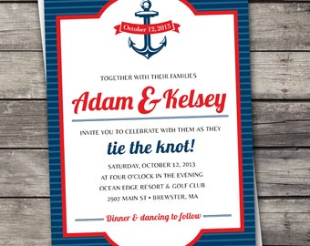 Nautical Stripes - Wedding Invitation Set - Digital Files