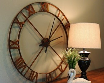 "36"" Wall Clock - Rusty Industrial Steel/Metal  (Movement & Hands NOT INCLUDED)"