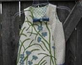 Girls Dress-Little Girls Clothing  Cream Cheetah Print Fabric -   Trim Accessory Pin - Handmade-upcycled recycled repurpsed