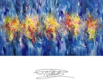 "Large Abstract Painting 59.1 "" x 29.5 "" Original Acrylic on canvas Modern Art. Artist Peter Nottrott."