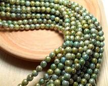 6mm Luster Green Czech Beads, Green Beads, Olive Beads, Green Luster Beads, 6mm Green Beads, 6mm Glass Beads, 6mm Czech Beads D-D02
