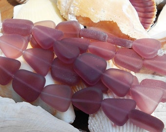 Purple Sea Glass Beads, Purple Beads, Small Free Form Sea Glass, Amethyst Sea Glass, Matte Glass Beads, Flat Beads, Beach Beads,  D-H02
