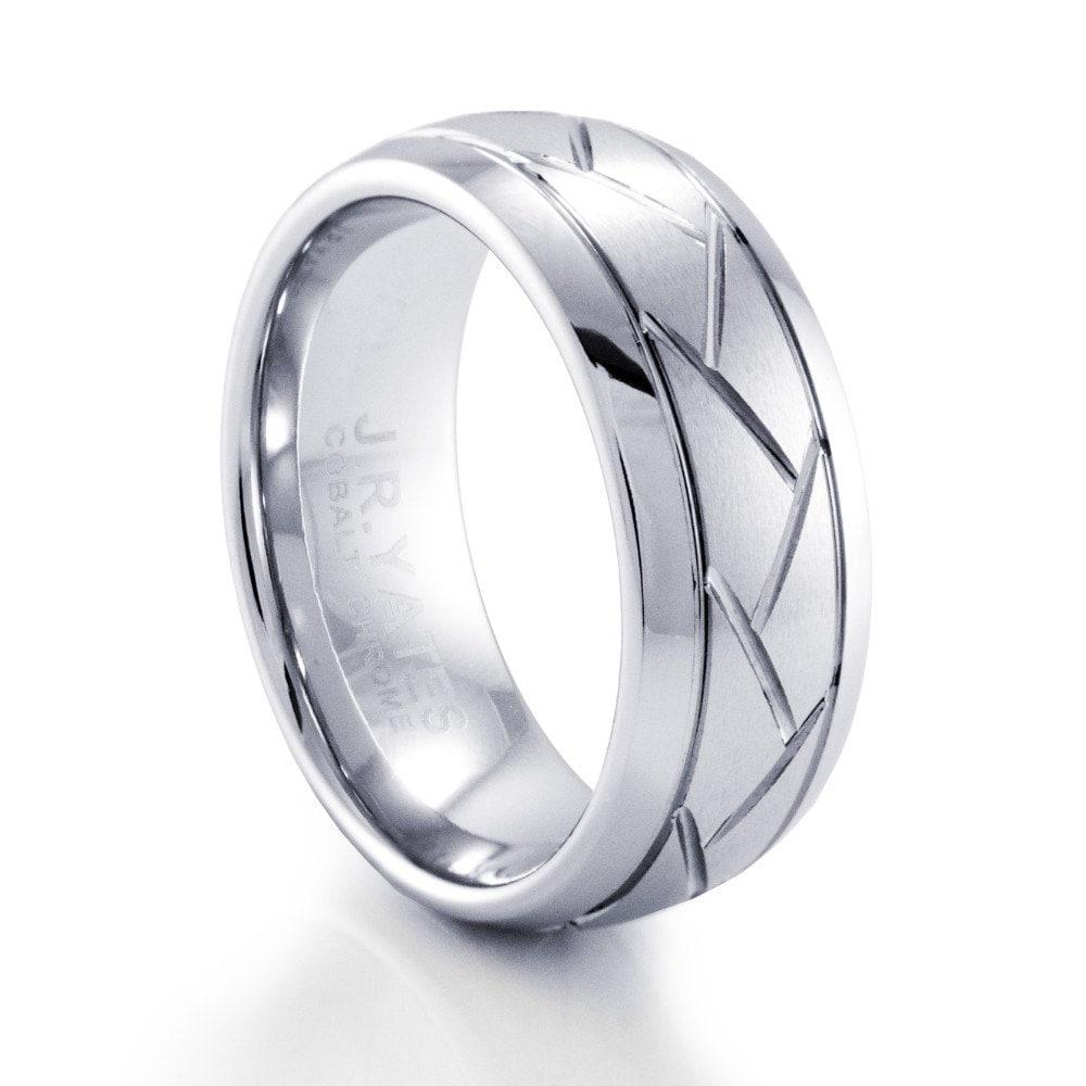 mens criss cross cobalt wedding band