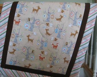 Infant to Toddler Quilt Set. Baby Forest Animals. Chocolate Brown. Tag Blanket. Stroller/Car Seat Quilt. Toddler Conforter. 3 Piece Set.