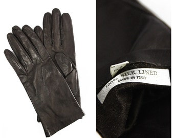 Vintage brown leather gloves • silk lining • made in Italy • Italian • high fashion • Old Hollywood • modern • pinup • rockabilly • preppy