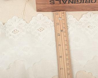 Floral Cotton Lace Trim, Blue Cotton Lace Trim, Floral Lace for Girls, Women, Clothings / Lace supply