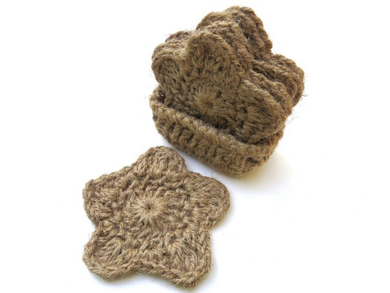 Handmade crochet  coaster set of 4 or 6 with coaster holder natural hemp star shaped eco-friendly earth friendly