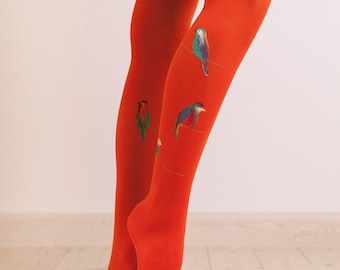 Tights with hand painted motives
