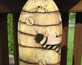 Primitive Beehive, Wooden Beehive, Handmade Beehive, Wooden Bees, Wall Decor, Shelf Decor, FAAP, OFG