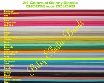 31 Yards Bitsy Bands Elastic by the Yard - Choose from 31 colors - skinny elastic for headbands