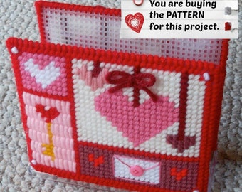 Plastic Canvas Pattern: Valentine Hearts Napkin Holder Covers ***PATTERN ONLY***