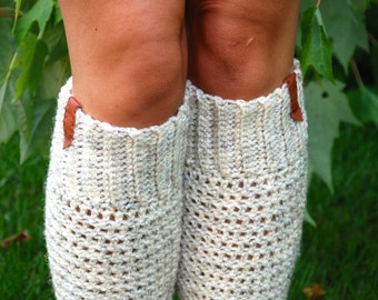 Boot Socks, Boot socks with leather, leg warmers, boot cuffs, boot liners, boot toppers, women, wheat, oatmeal, more colors available
