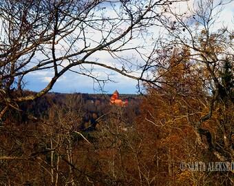 Autumn scenery - Sigulda, Latvia - Fine Art Photography - Print 8x12 - woodland decor - nature photography - castle photo - autumn photo