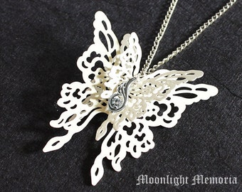 "Butterfly Necklace ""Forever White""- Captivating 3D White Butterfly Wing -  Bridal Jewelry Butterfly Necklace Jewelry Gift  Cyber Monday Sale"