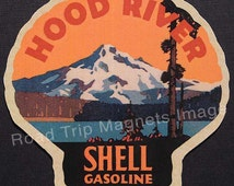 Shell Gasoline 1920s Travel Decal Magnet for HOOD RIVER (OR). Accurate reproduction & hand cut in shape as designed. Nice Travel Decal Art.