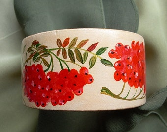 Hand-painted wooden bracelet with rowanberries (not decoupage)
