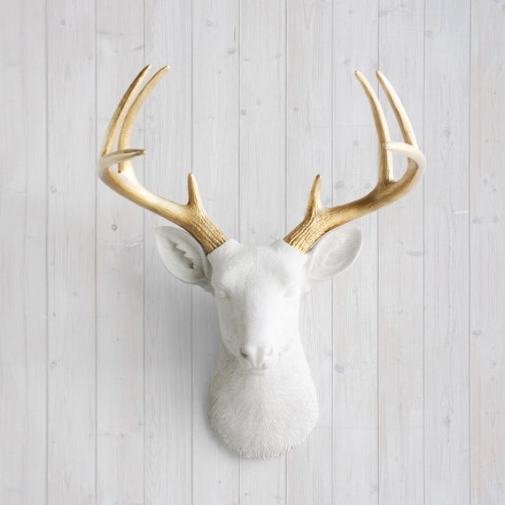 Animal Head Wall Decor White : White gold antlers faux deer head decor by wall charmers