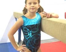 Gymnastics Girls Leotard Childrens size 4 6 8 10 12 14 black teal metallic circular design New Youth Gym Dance Leo