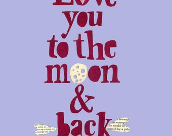 Childrens Wall Art, Nursery Art, Room Decor- Love you to the Moon & back Print.