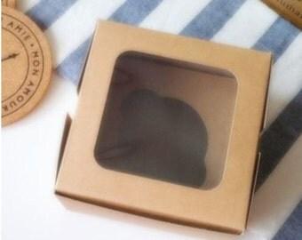 50pcs of Kraft paper single muffin cupcake packing box with window