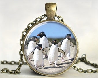 Penguins Art Pendant, Penguins Necklace, Penguins Jewelry, Art Pendant, Picture Pendant, Gift, Print ,Glass