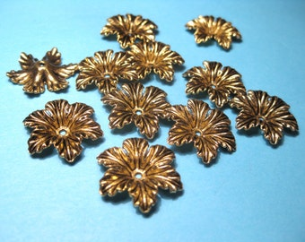 10pcs Large Antique Gold Flower Bead Caps 18x4mm