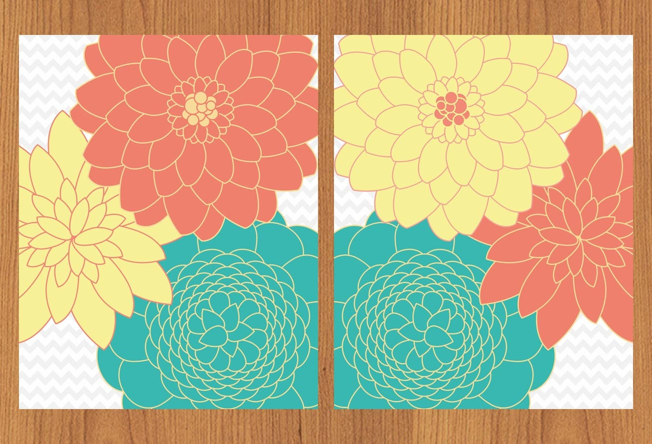 Floral Flower Burst Coral Teal Yellow Wall Art Baby Decor