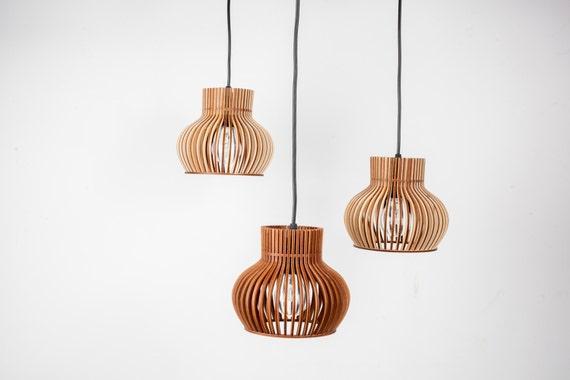 set of 3 wooden hanging lamps lighting kitchen lamp birchwood. Black Bedroom Furniture Sets. Home Design Ideas