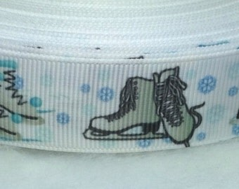 "5 Yards of Figure Skates 7/8"" Grosgrain a Ribbon"