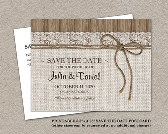 Burlap save the date | Etsy