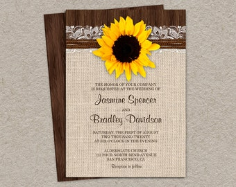 Rustic Sunflower Wedding Invitation, DIY Printable Country Sunflower Invitations With Burlap And Lace, Sunflower Wedding Invite