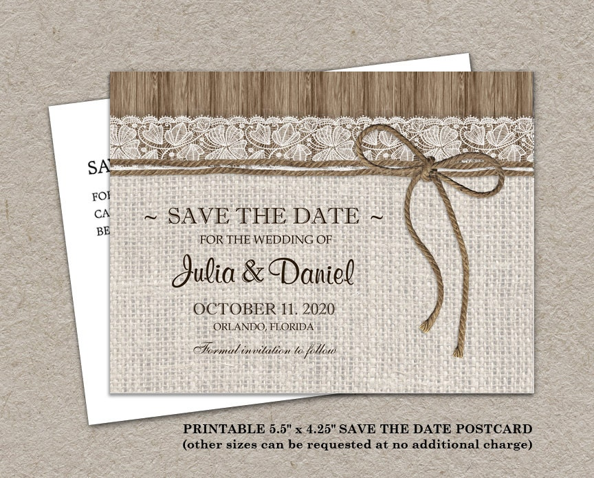 rustic save the date card printable burlap save the date