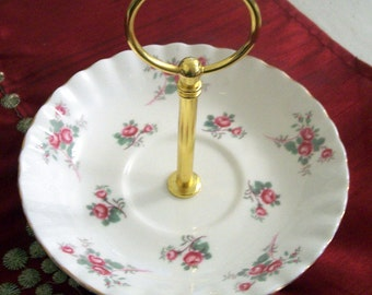 Vintage Single Tier Cake / Nibbles / Trinket Dish Stand Tea Party Wedding - Richmond Rose Time