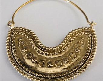 Brass Earrings - Brass Hoops - Gypsy Earrings - Tribal Earrings - Ethnic Earrings - Indian Earrings - Tribal Hoops - Indian Hoops (EB86)