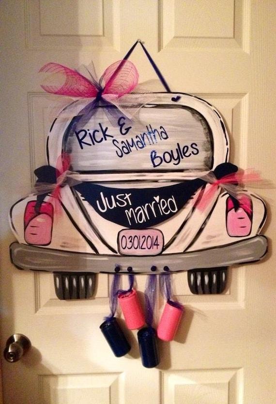 Items similar to just married door hanger newlywed door for Just married dekoration