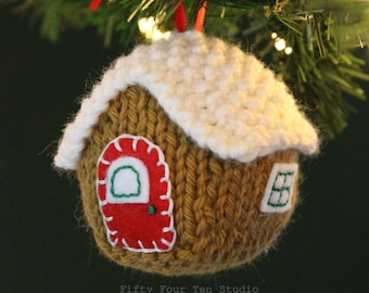Knitting PATTERN / Christmas Ornament / Gingerbread House / PDF instant download / Knit Tutorial