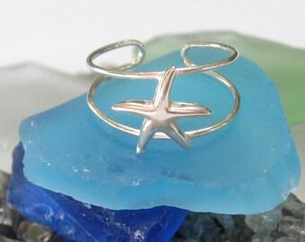 Starfish Toe Ring - Sterling Silver Hi Polished