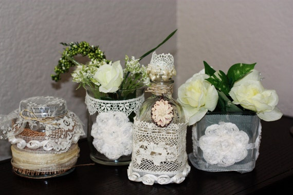 Wedding/Home Decorations Table Centerpieces/Vases/Jars,   Cottage Style, BOHO, Bohemian Wedding, Shabby Chic,Wedding Design/Decor