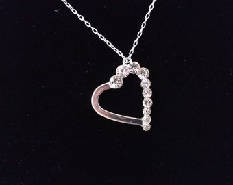 Georgeous Rhinestone Heart pendant with sterling silver necklace