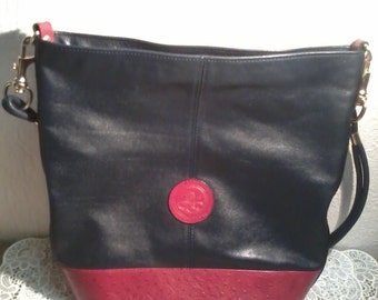 beautiful handbag vintage POURCHET in navy and red leather