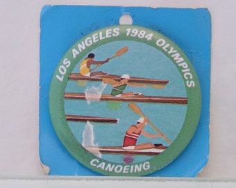 Vintage Los Angeles 1984 Olympics Canoe Canoeing Pin Pinback Badge XXlll CA Games of the XXIII Olympiad
