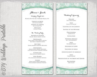 Tiffany blue wedding program templates burlap lace for Wedding ceremony order of service template free