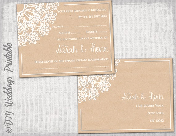 rustic wedding rsvp postcard template diy lace doily