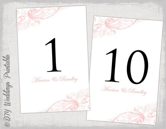 "Table number template DIY pastel pink wedding number card ""Vintage ..."