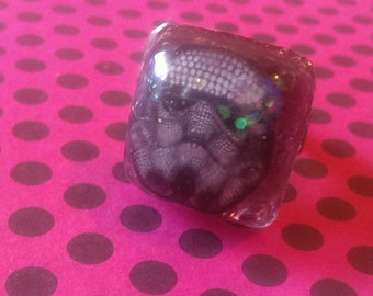 Psychedelic Stormtrooper with Copper Glitter Adjustable Resin Ring Jewelry